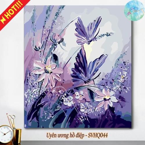 Tranh sơn dầu số hóa tự tô màu theo số có khung uyên ương hồ điệp. loại tranh trang trí đôi bướm xinh tết xuân, góc sắc màu hcm