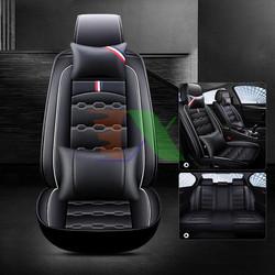 Áo ghế ô tô 5D, Áo ghế xe hơi, Bọc da ghế xe 5D A28.1 1 ghế + 2 gối, Bọc ghế ô tô 4-5 chỗ Màu Đen Viền Trắng