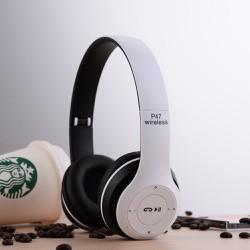 Tai nghe chụp tai cao cấp có khe thẻ nhớ Bluetooth P47 -Trắng 1000002736