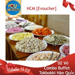 HCM [Evoucher] Đặt Bàn 02 Người - Buffet Tokbokki Hàn Quốc Cho Cặp Đôi Mùa Valentine