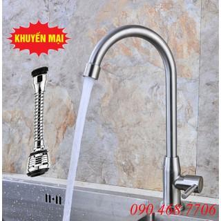 [Hỗ trợ phí vận chuyển] Vòi đơn lạnh chậu rửa bát inox 304 tặng kèm đầu vòi rửa dây dài và dây cấp inox - VRB902-DV02 thumbnail