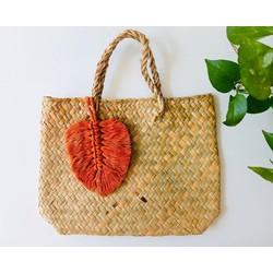 Túi cỏ bàng handmade - Lá cotton trang trí túi xách