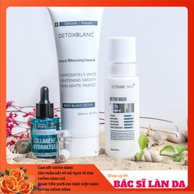 Bộ sản phẩm xóa mụn dưỡng trắng cho Mặt và Body Detox Blanc - BSPXMDTFACEBODY