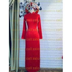 áo dài cưới đỏ đồng tiền chữ hỷ đơn giản va lich sự