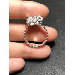 Nhẫn bạc kim tiền tài lộc cõng tỳ hưu bạc - bạc thật hm04