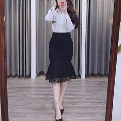 Chân váy đuôi cá gấu ren công sở Cúc Fashion DC6 - Được Kiểm Hàng - Được Kiểm Hàng