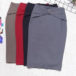 Chân váy bút chì công sở móc tròn nơ ngọc Cúc Fashion cv56 - Được Kiểm Hàng