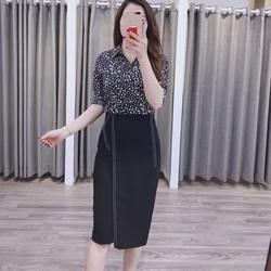 Chân váy bút chì công sở 2 kẻ vạt Cúc Fashion cv05 - Được Kiểm Hàng - Được Kiểm Hàng - Được Kiểm Hàng
