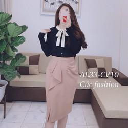 Chân váy bút chì công sở xẻ trước bèo nhúng Cúc Fashion cv10