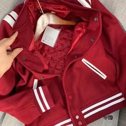 Áo khoác dạ bomber bóng chày đỏ - Được Kiểm Hàng - Được Kiểm Hàng