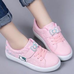 Giày thể thao hồng bé gái Hello Kitty nơ xinh xắn quai dán tiện lợi - Được Kiểm Hàng