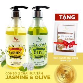 Combo 2 chai Sữa Tắm Onemy Jasmine Shower Gel và Olive Shower Gel 600ml xuất Châu Âu - TẶNG Kem và bột tắm trắng cacao chuẩn spa 120g - Quatang-suatam2loai