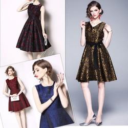 Đầm xòe gấm họa tiết cao cấp nhiều mẫu - shop Hippo