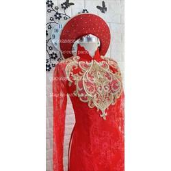 áo dai cưới đỏ cô dâu ren mi