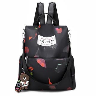 Balo dù kiêm túi xách Hàn Quốc phối hoa Size 33 chống nước C066 - 6615416832 thumbnail