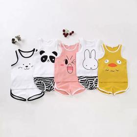 Bộ quần áo trẻ em 5 bộ ba lỗ cảm xúc 4-15kg - quần áo trẻ em ba lỗ