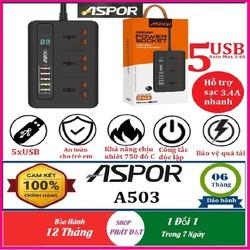 Ổ cắm điện thông minh ASPOR A503 tích hợp 5 USB Sạc nhanh 3.4A, Chế độ thông minh tự điều áp, chống cháy nổ, dây dài 2m