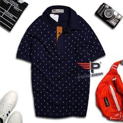 Áo thun nam cổ bẻ phong cách xmen họa tiết chữ X GU02 màu xanh đen phù hợp đi làm đi chơi