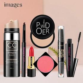 Bộ trang điểm Images 7 món sang chảnh Kem CC Phấn phủ Bút tạo khối Chì kẻ mày Mascara Phấn má hồng Son thỏi giữ ẩm bộ makeup set trang điểm cá nhân - JS-BTD50