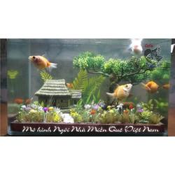Mô hình hồ cá thủy sinh, non bộ, sa bàn. Ngôi nhà nông thôn Việt Nam. Mô hình quà tặng