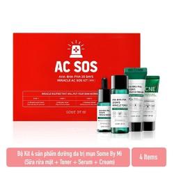 Bộ Kit 4 sản phẩm dưỡng da giảm mụn Some By Mi AHA - BHA - PHA 30 Days Miracle AC SOS Kit