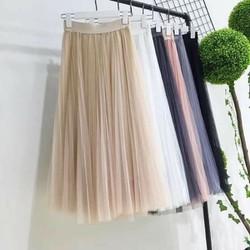 chân váy von lưới xếp ly có cả laoi ngắn và dài