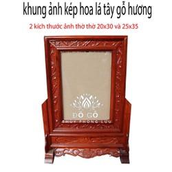khung ảnh kép hoa lá tây khung ảnh thờ gỗ hương