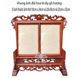 khung ảnh thờ đôi loại 2 ảnh gỗ hương