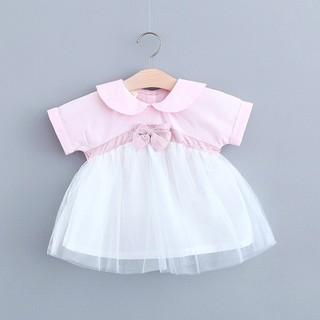 Váy đũi cổ bèo nơ bụng cực đáng yêu cho bé gái đón hè 2020 - váy đũi nơ bụng