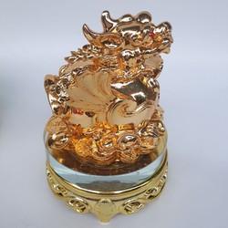 Tượng tỳ hưu đế kính mạ kim loại cao 15 cm rộng 10 cm xoay 360 độ