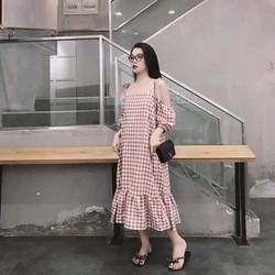 Váy bầu maxi buộc nơ vai họa tiết caro siêu xinh chất đẹp