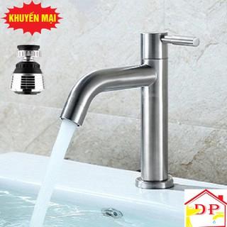 Vòi lạnh chậu rửa mặt inox 304 cao cấp tặng dây cấp nước đầu vòi rửa điều hướng 360 độ - g3g5HlJMR2 thumbnail