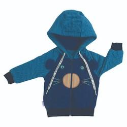 Áo khoác mặt gấu lót bông dây kéo AN1034- Hello B&B- Xanh