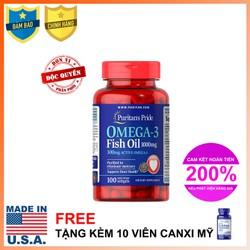 Dầu cá Omega 3 Fish Oil 1000mg Hỗ trợ tim mạch, Bổ mắt, Bổ não, Điều hòa huyết áp Puritan's Pride