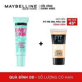 [QUÀ ĐỈNH 0Đ]Kem Lót Mịn Da Maybelline BabySkin Pore Smoother - 22ml tặng Kem Nền Mịn Lì Từ Nhiên Maybelline Fit Me Tube 120 5ml - TUML00243CB