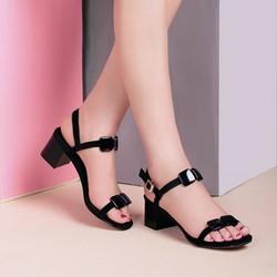 Giày sandal nữ đẹp đính nơ gót vuông cao cấp Ro40 - Bảo hành 12 tháng - Đổi hàng nếu không ưng ý