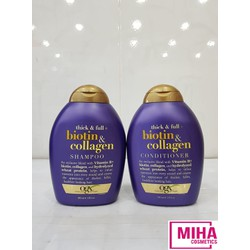 Dầu Gội Và Dầu Xả Giảm Gàu Giảm Rụng Và Kích Thích Mọc Tóc BIOTIN Collagen OGX 385ml USA