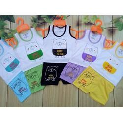 [Quần áo trẻ em] Hàng loại 1 - Set 5 bộ cotton 2 chiều sát nách cho bé từ 3-6kg