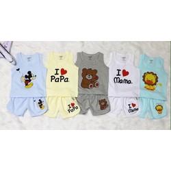 [Quần áo trẻ em] Hàng loại 1 - Set 5 bộ cotton 2 chiều sát nách