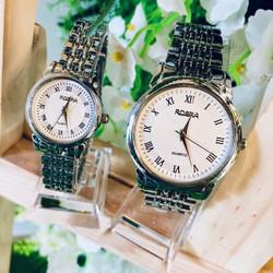 [Tặng hộp + pin dự phòng] Đồng hồ đôi ROSRA Nam Nữ dây bạc Kèm giấy bảo hành