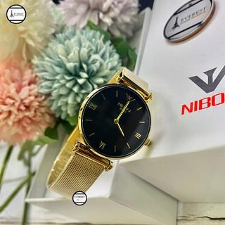 Đồng hồ Nữ Nibosi dây lưới, hàng chính hãng, hàng fullbox - Nibosi nữ vàng mặt đen thumbnail