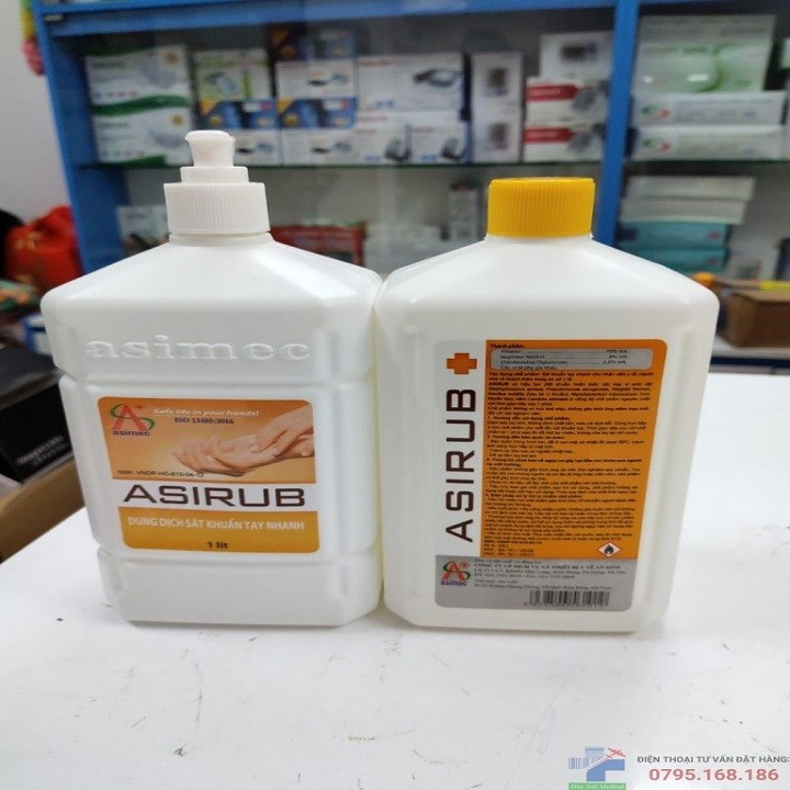 Nước rửa tay khô Asirub chai 1L-Combo 2 chai hàng chính hãng