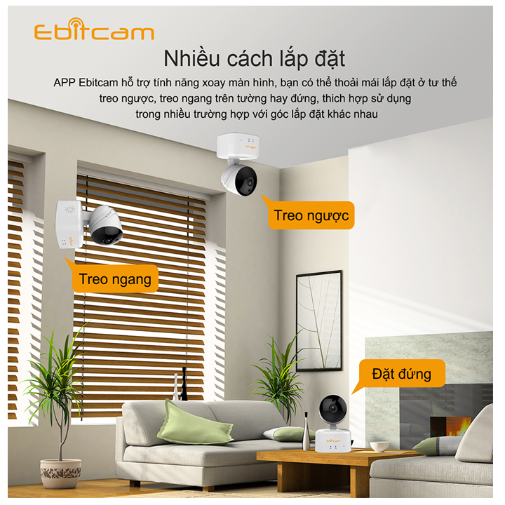 Camera Ebitcam IP E3 wifi, Full HD+ 3.0M,quay 360 độ,thu âm đàm thoại hai chiều,chuyển động theo vật,sám sát,an ninh,gia đình, theo dõi trên ĐT