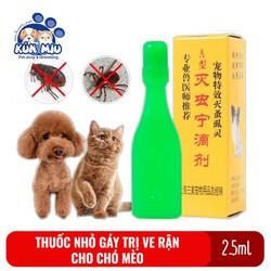 Thuốc nhỏ gáy trị ve, rận, bọ chét cho chó mèo hàng Trung Quốc nội địa