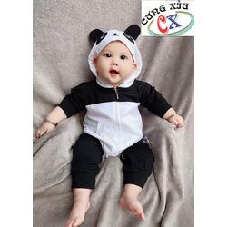 Quần áo trẻ em hình Panda cotton tay dài nón liền.
