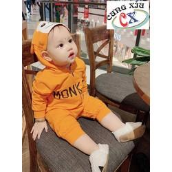 Quần áo trẻ em hình Khỉ  cotton tay dài nón liền.