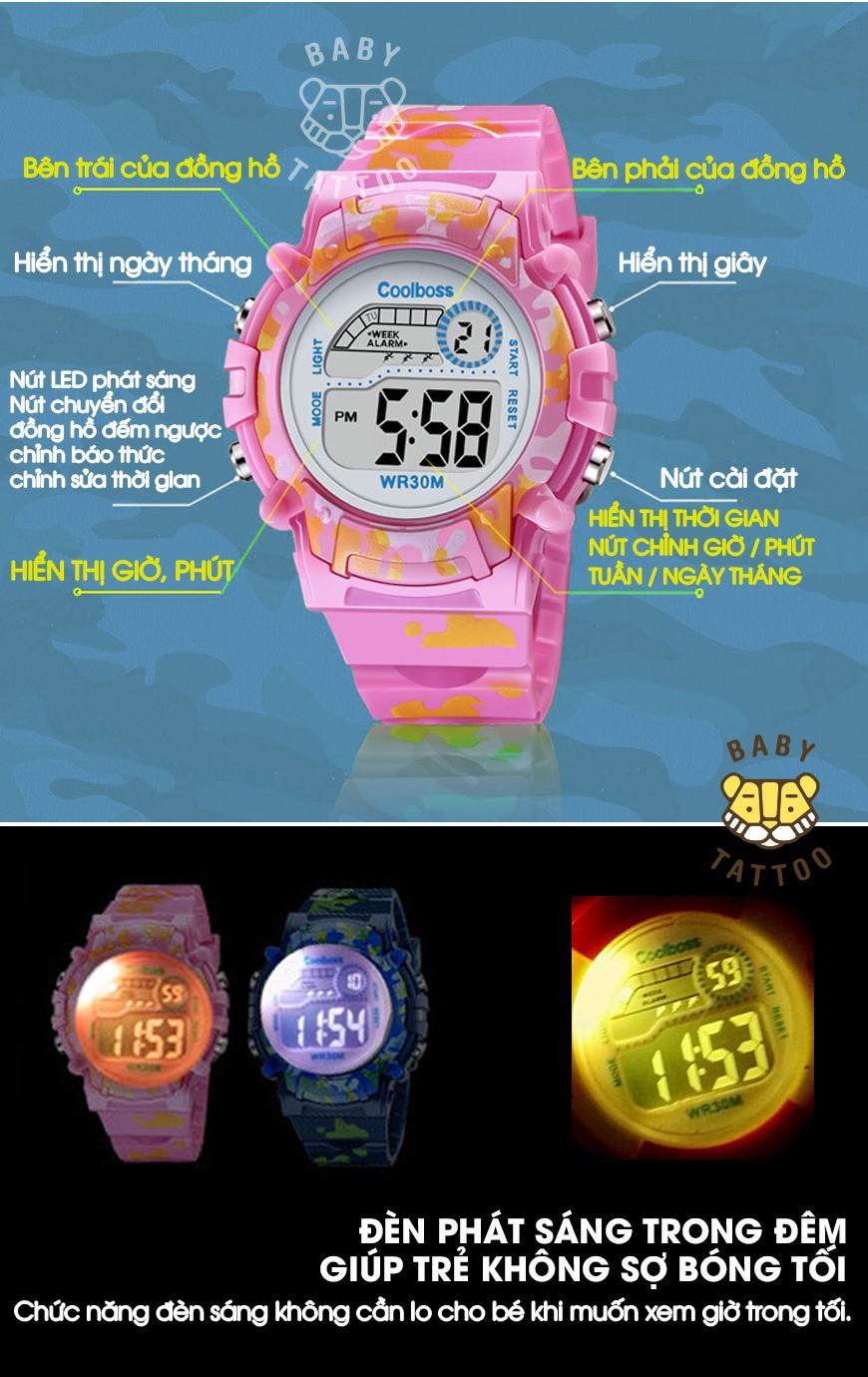 Đồng hồ thể thao cho Bé Đồng hồ bé trai và bé gái không thấm nước và có đèn dạ quang Đồng hồ điện tử trẻ tiểu học và trung học