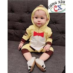 Quần áo trẻ em hình Hổ cotton tay dài nón liền.