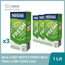 Mua 3 Hộp sữa tươi nguyên chất tiệt trùng Nestle Fresh Milk - 1L, Tặng 3 hộp cùng loại