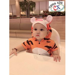 Quần áo trẻ em hình Hổ Vằn cotton tay dài và ngắn nón liền.